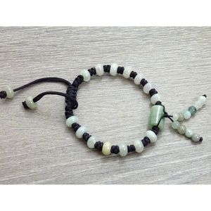 Jewelry - Jade Cord Bracelet Barrel + Dangle